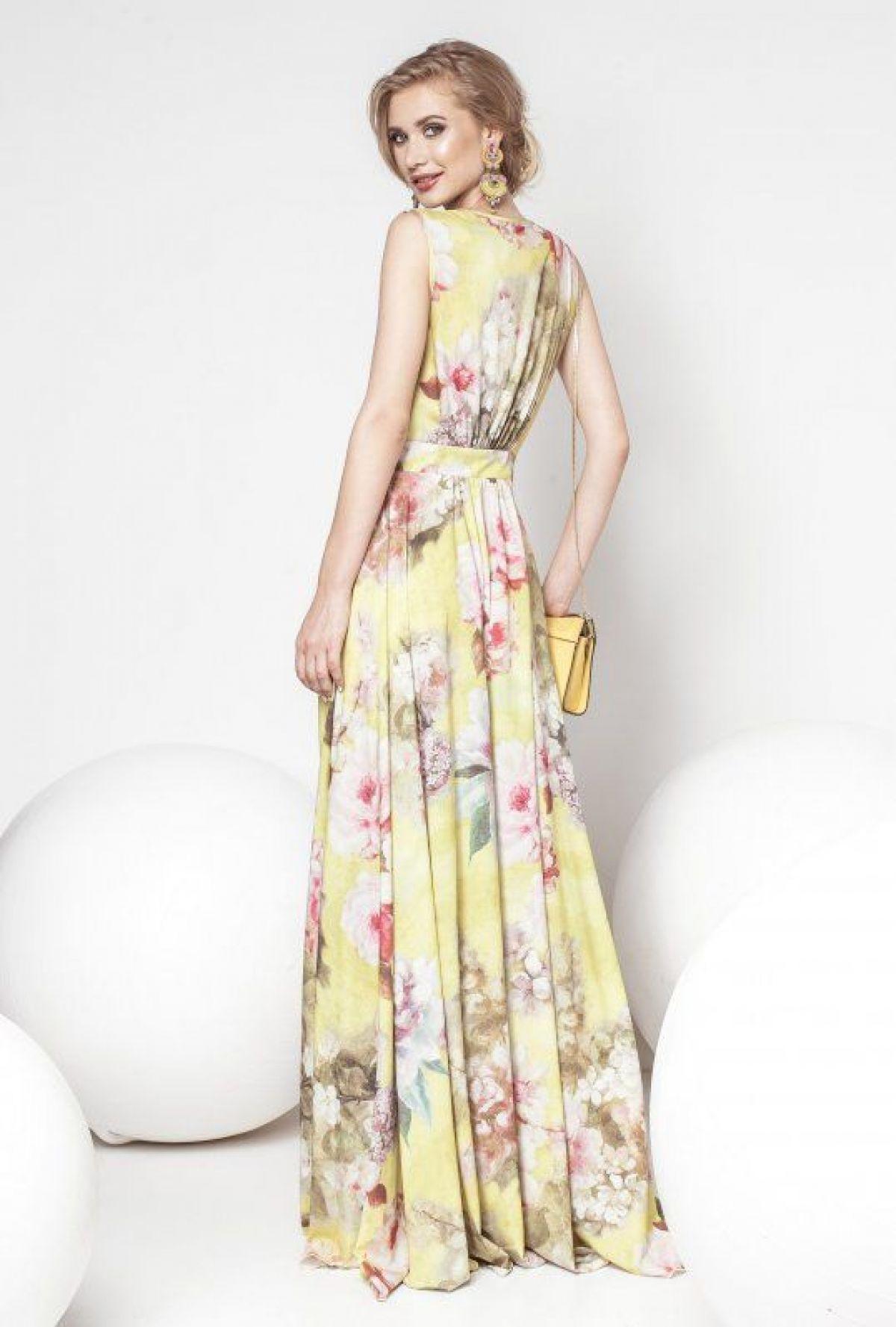 Rochie Pretty Girl lunga galben cu imprimeu floral