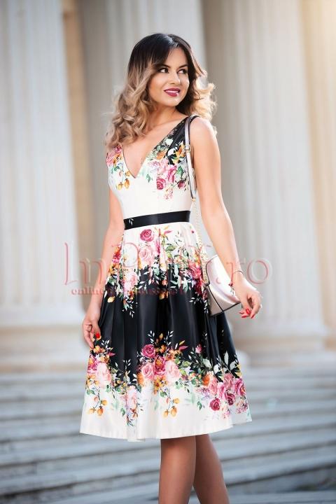 Rochie de seara din tafta cu imprimeu floral spectaculos