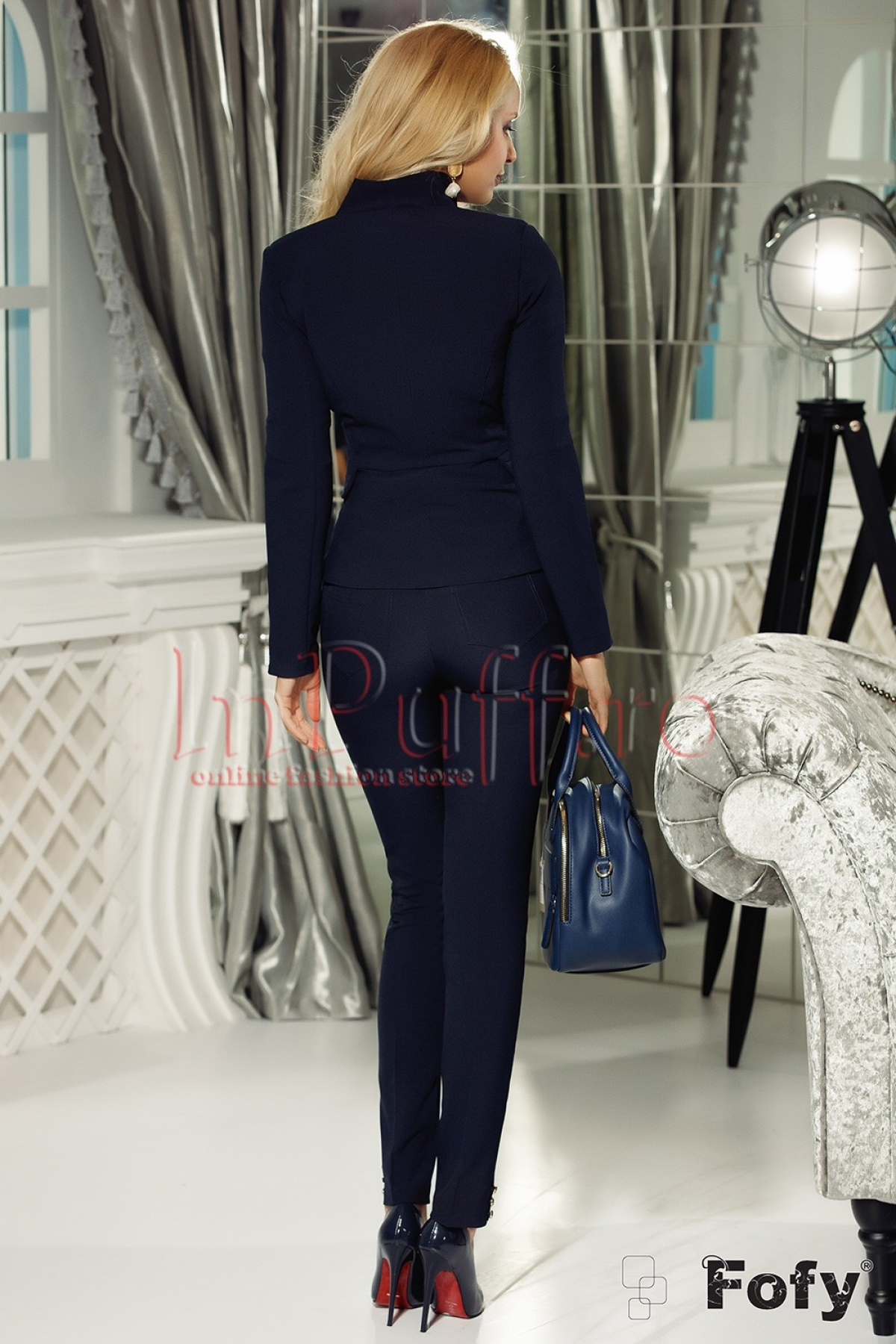 Pantaloni Fofy din material elastic bleumarin