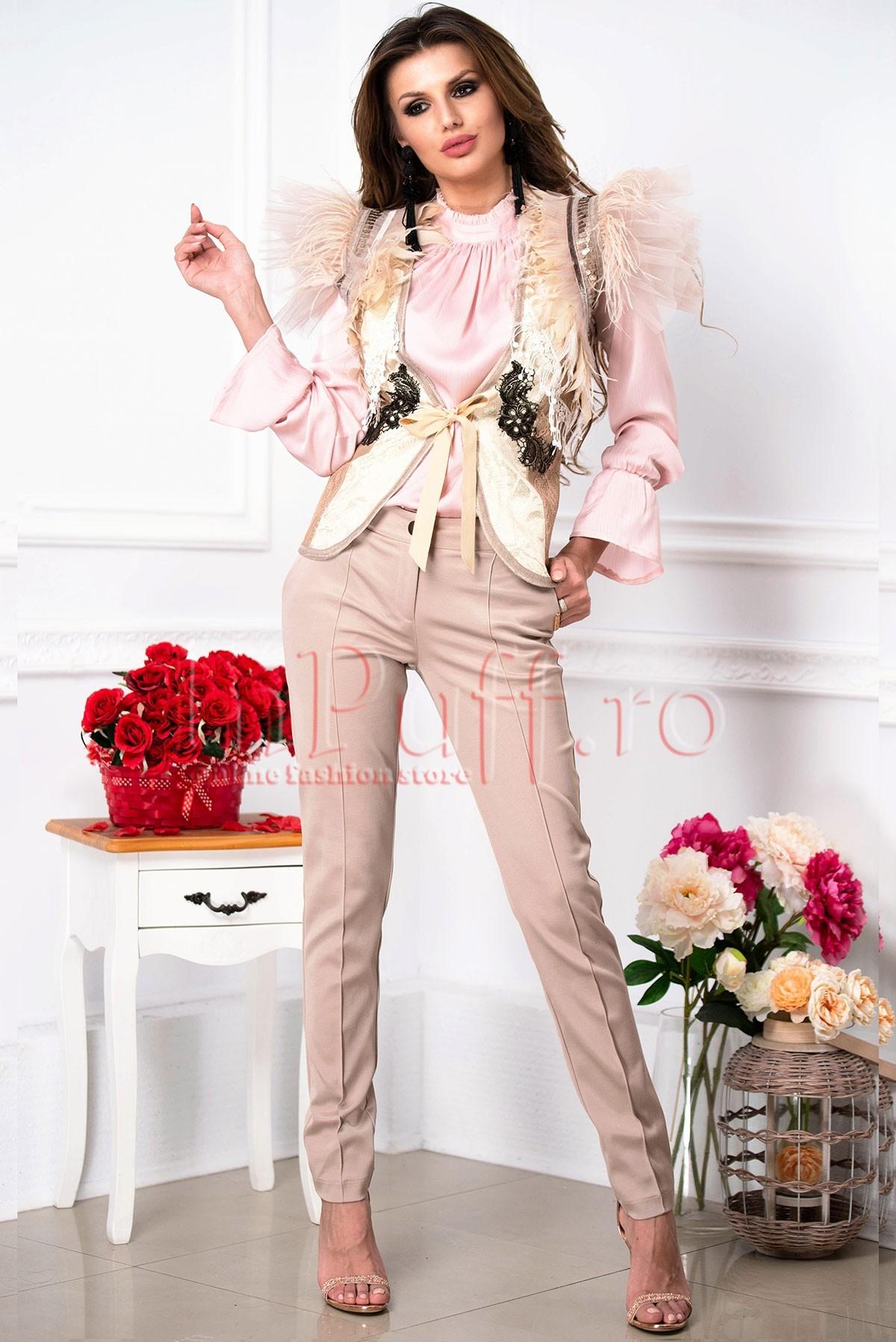 Pantaloni dama Pretty girl ecru