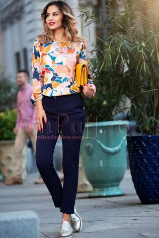 Pantaloni Pretty Girl bleumarin  eleganti cu fundite