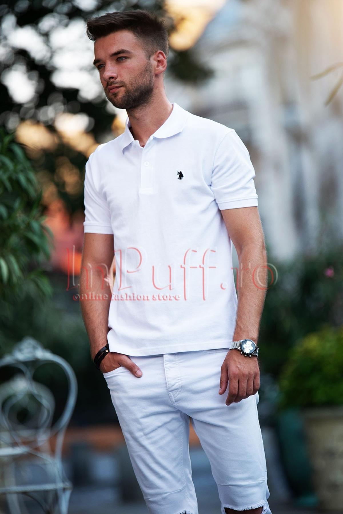 Tricou barbatesc Polo alb