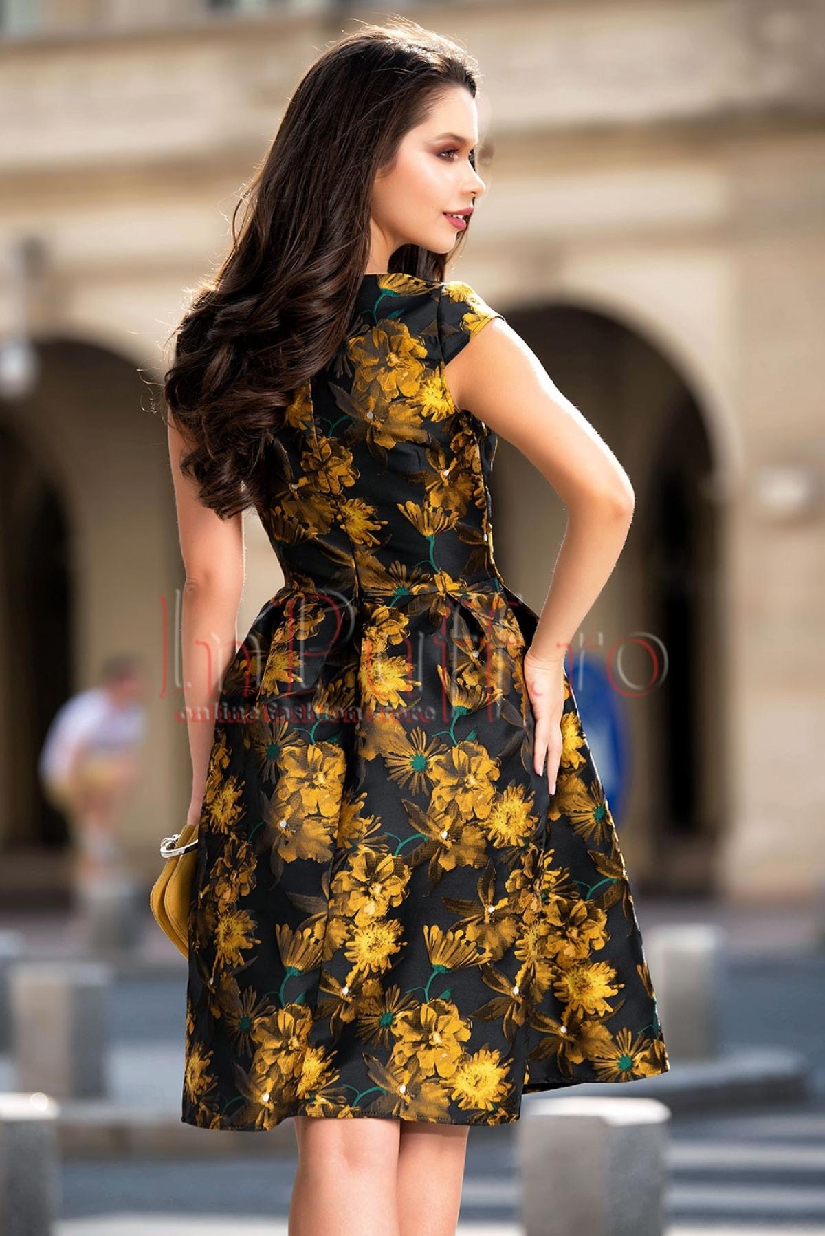 Rochie midi din brocard cu imprimeu floral mustar