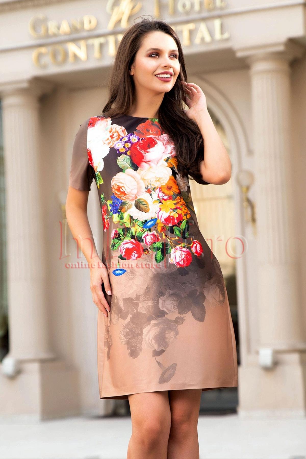 Rochie de zi bej din tafta cu imprimeu floral