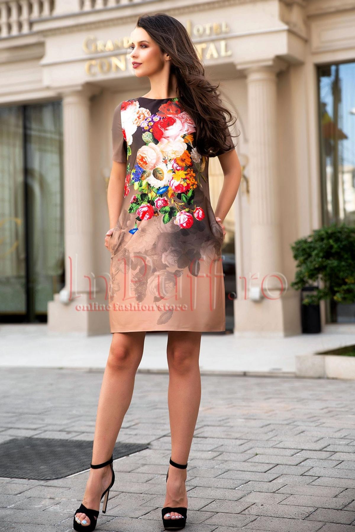 Rochie de zi kaki din tafta cu imprimeu floral