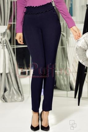 Pantaloni bleumarin din stofa cu volane crete in talie
