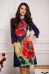 Rochie Fofy lejera cu maneca trei sferturi si imprimeu floral