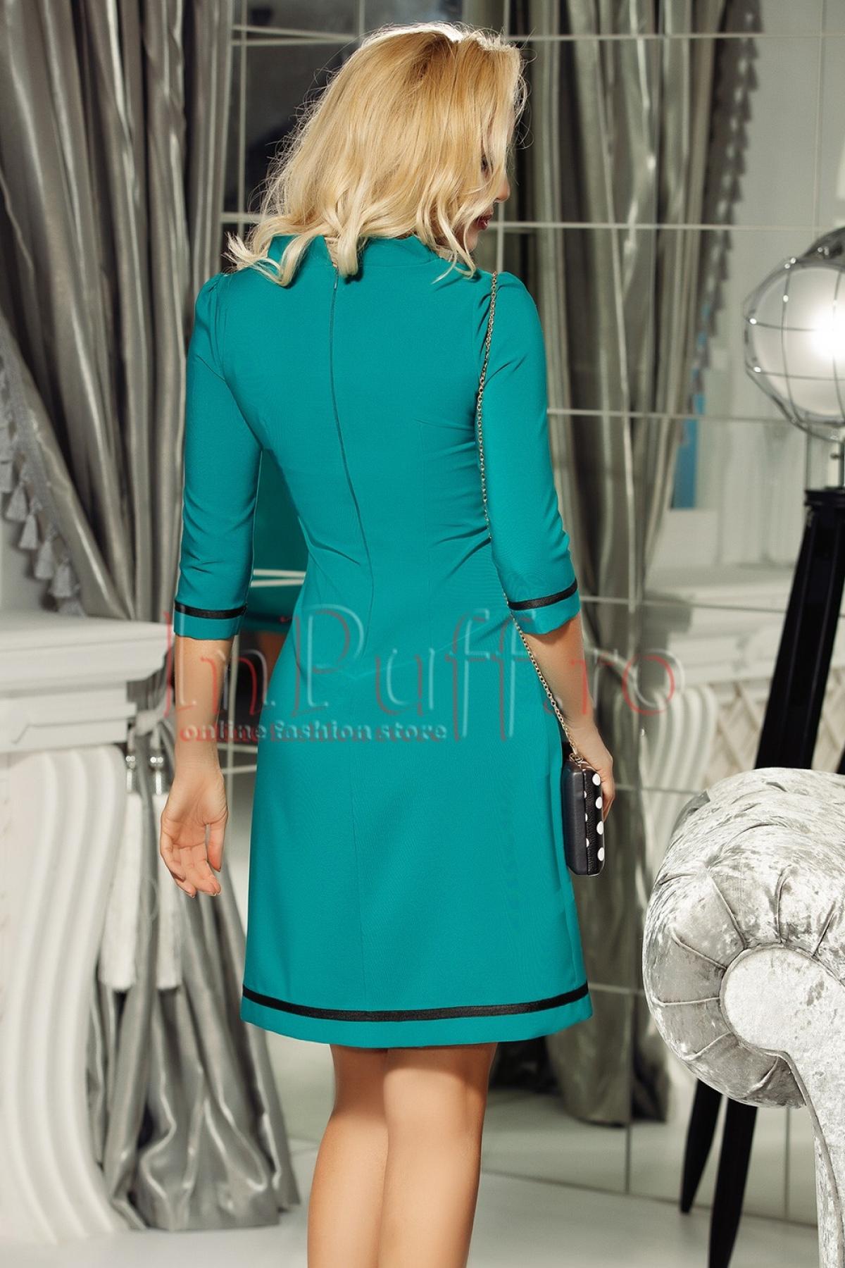 Rochie midi turquoise cu guler tunica si funda