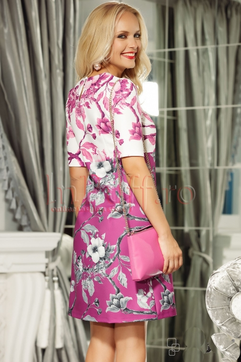 Rochie de zi in 2 culori cu imprimeu floral