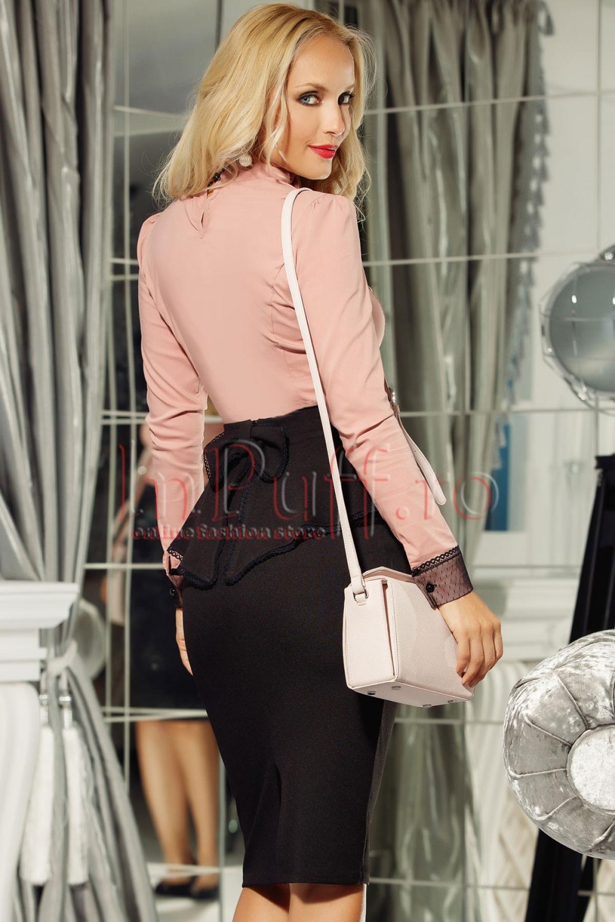 Camasa roz pudra eleganta din bumbac elastic