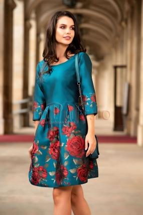 Rochie Pretty eleganta din tafta albastra cu flori mari rosii