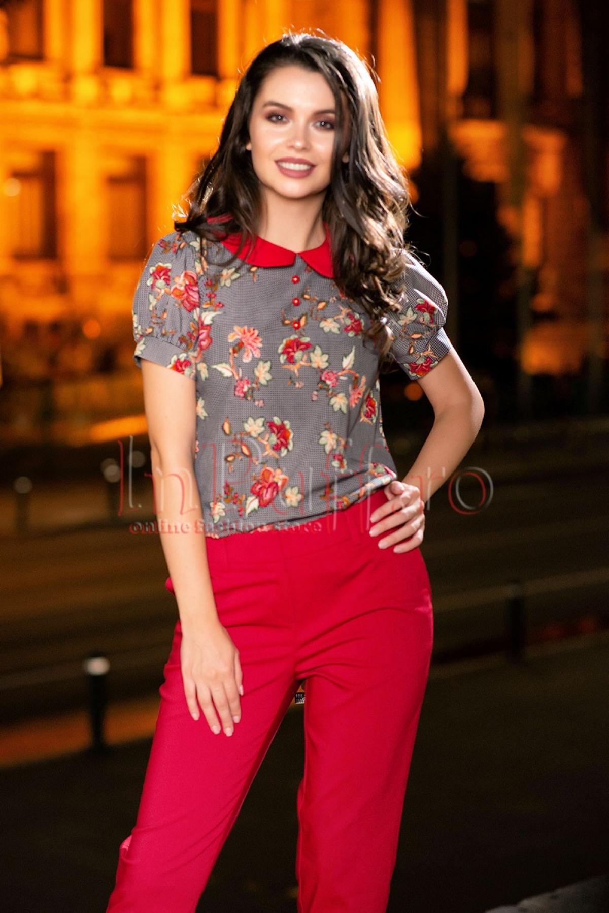 Bluza Pretty girl imprimat cu guler rosu