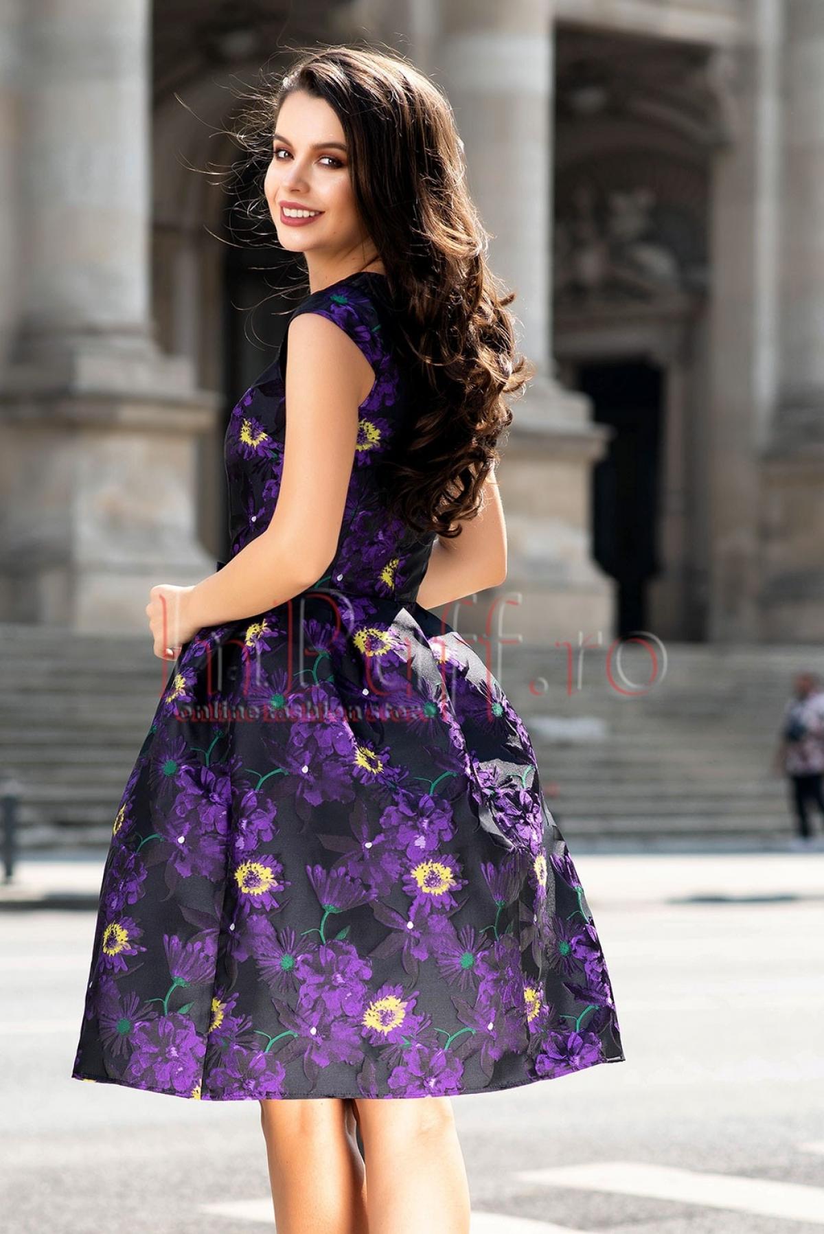 Rochie clos din brocard cu imprimeu floral mov