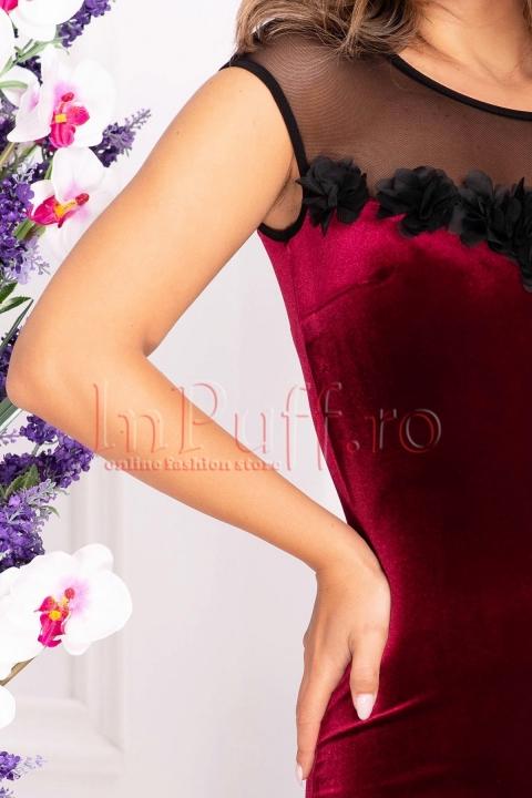 Rochie din catifea bordo cu flori 3D