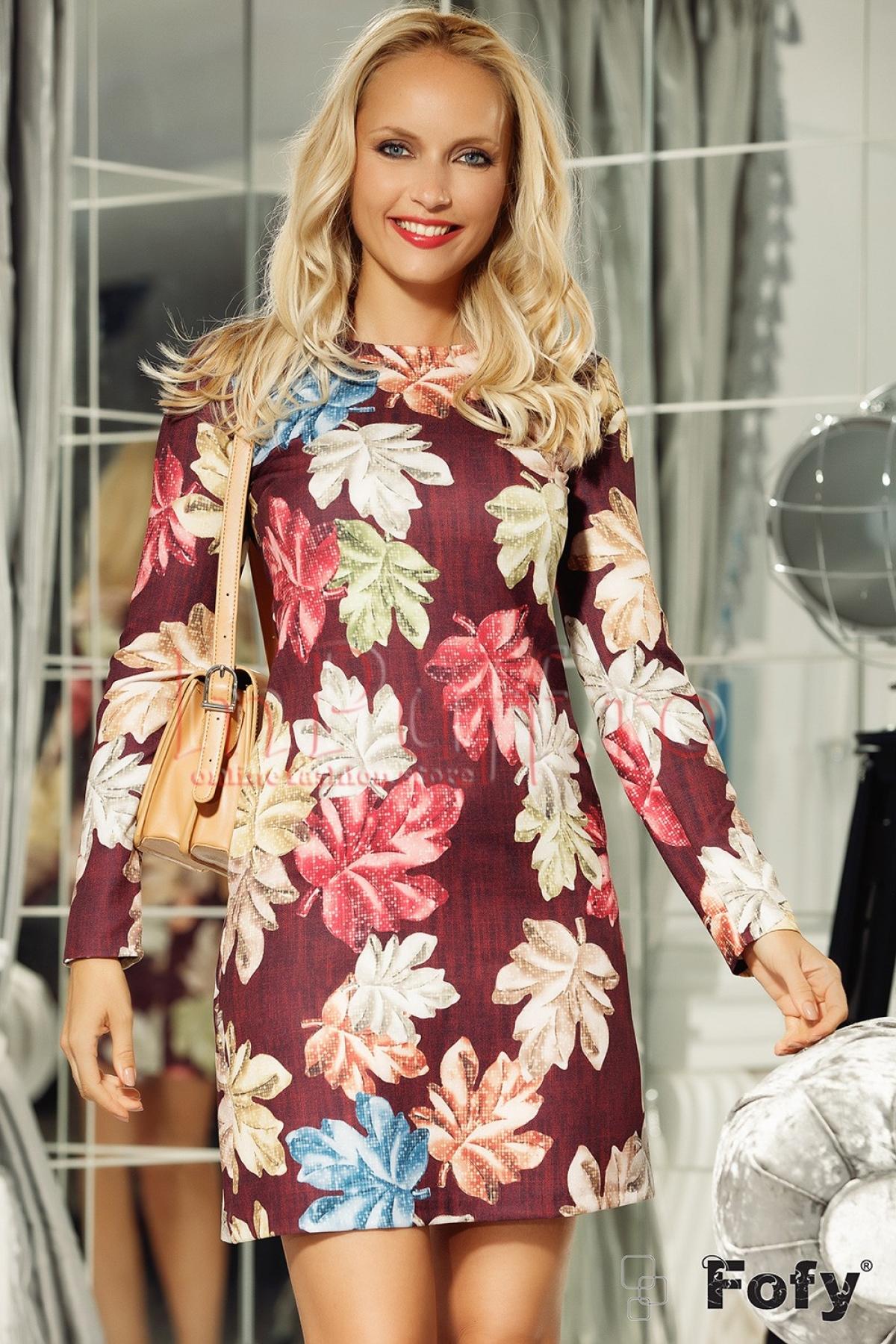 Rochie bordo scurta cu imprimeu floral