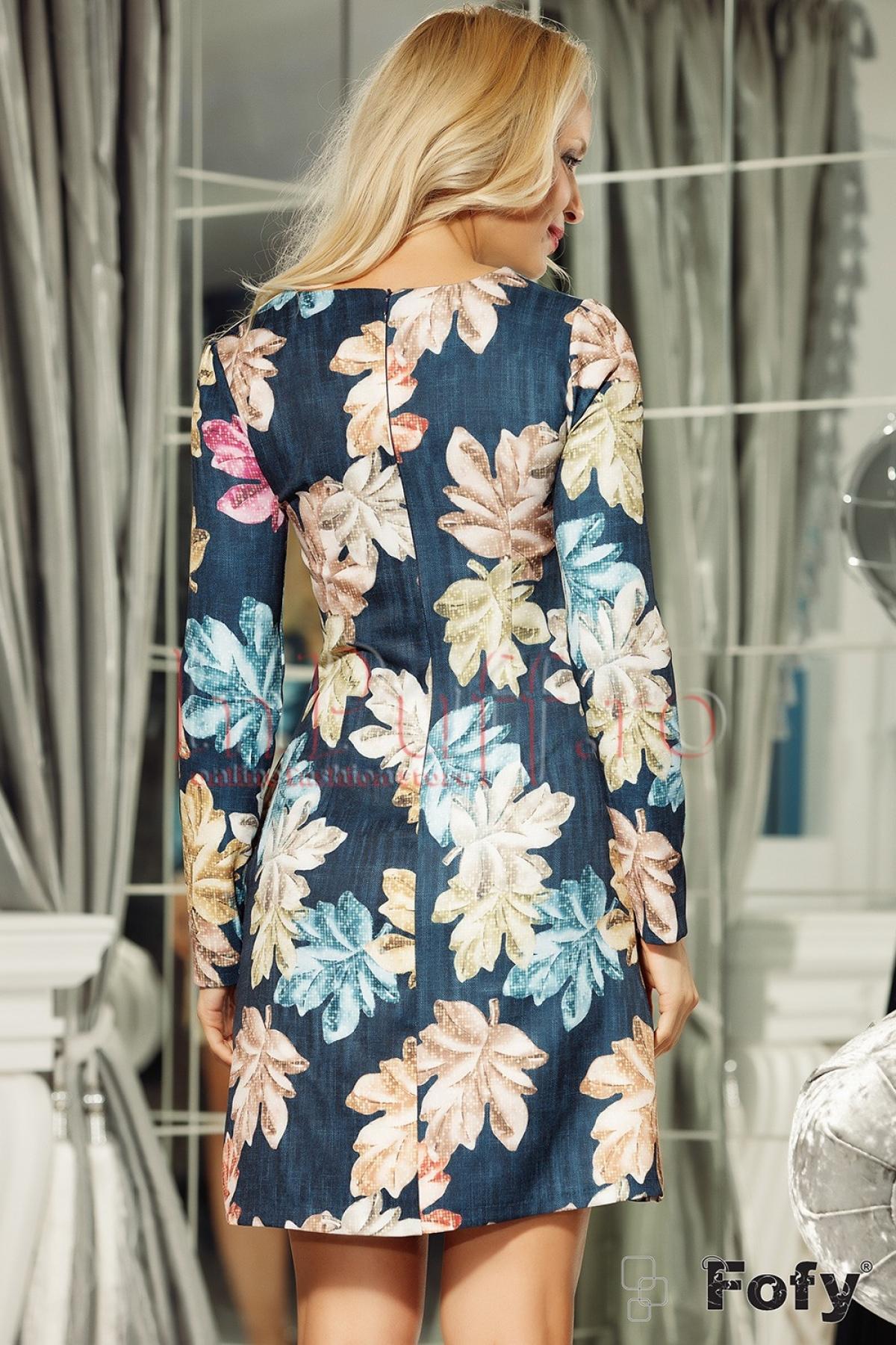 Rochie bleumarin de zi scurta cu imprimeu floral