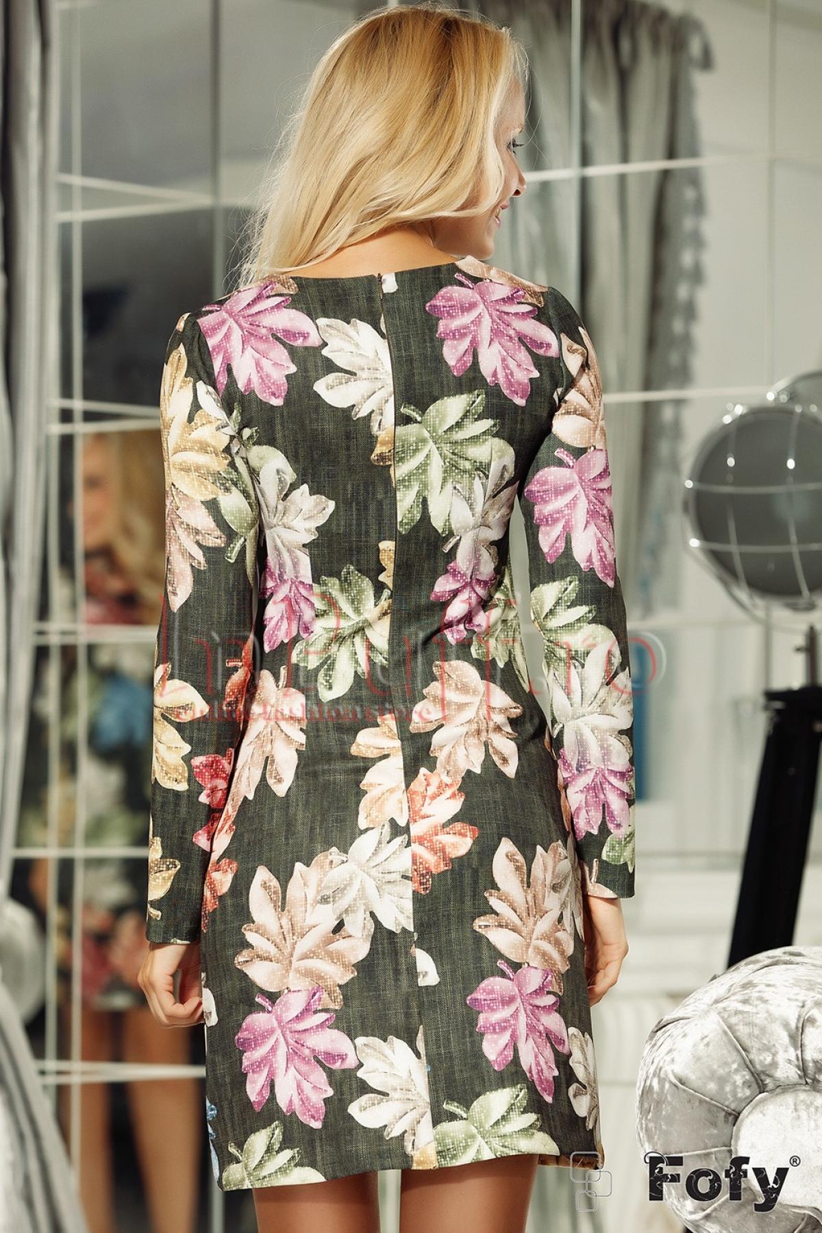 Rochie kaki cu maneca lunga si imprimeu floral