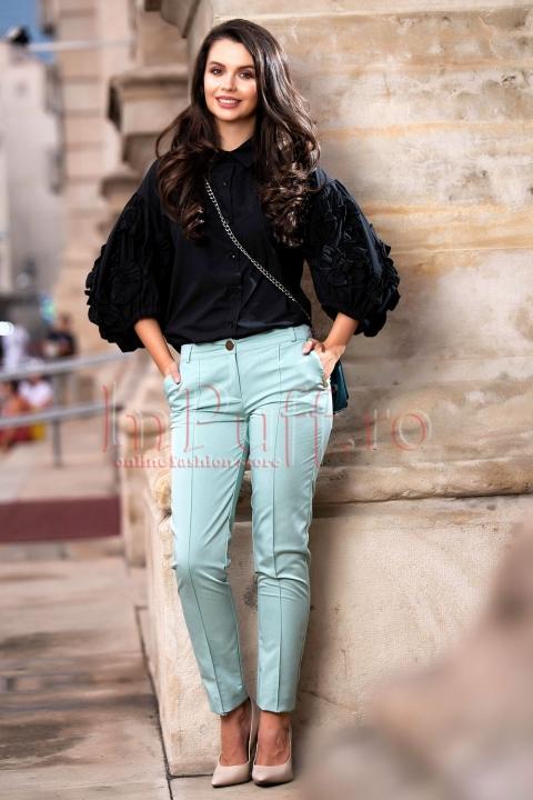 Pantaloni conici verde mint