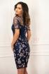 Rochie bleumarin din tul brodat floral