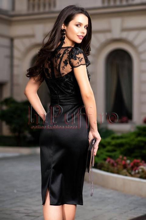 Rochie de ocazie neagra cu accesoriu in talie