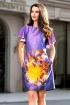 Rochie de zi din tafta mov cu imprimeu floral