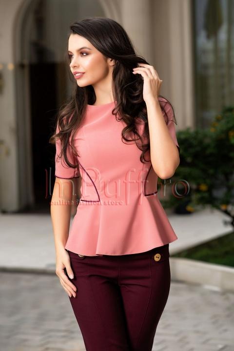 Bluza roz cambrata cu maneca scurta