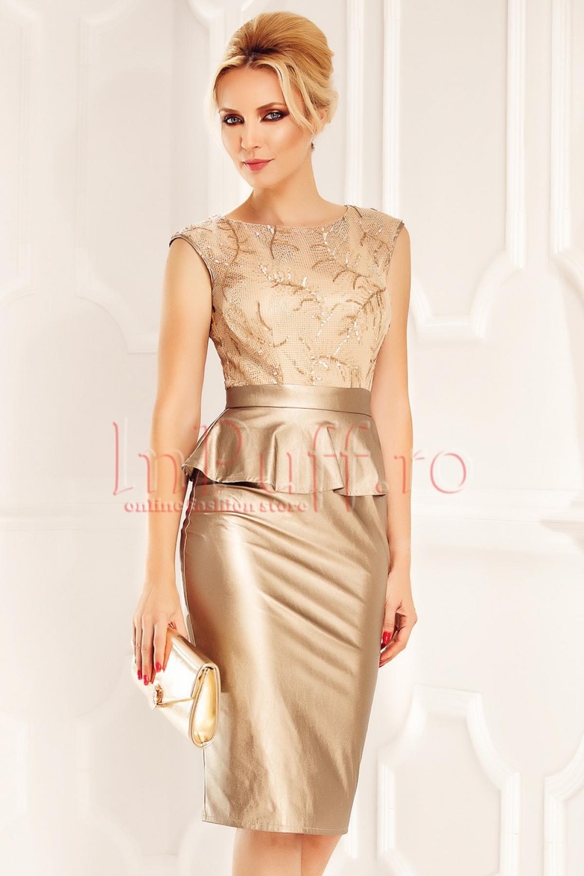 Rochie auriu cu fusta din piele si peplum