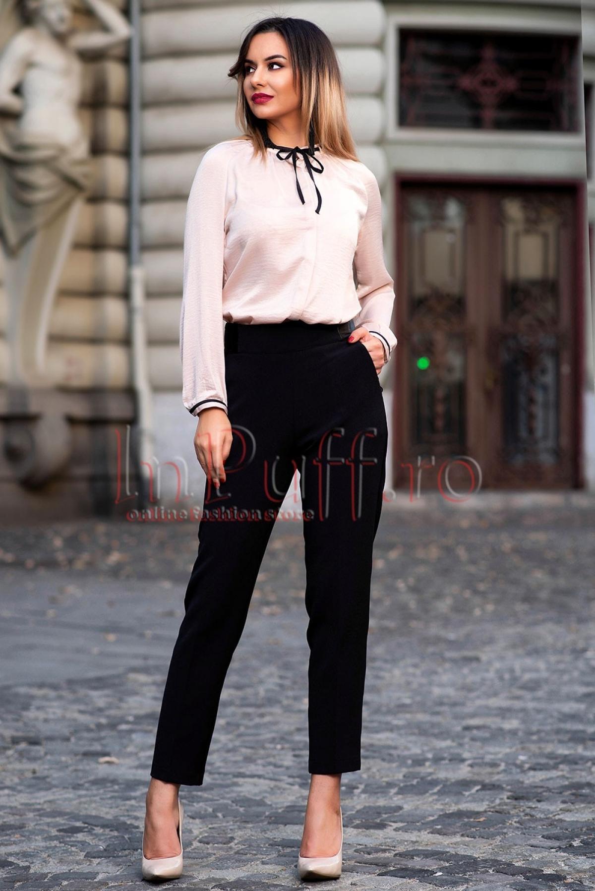 Pantaloni cu talie inalta Pretty Girl negri