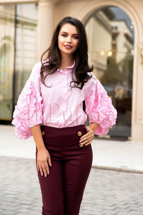 Camasa roz cu maneci supradimensionate