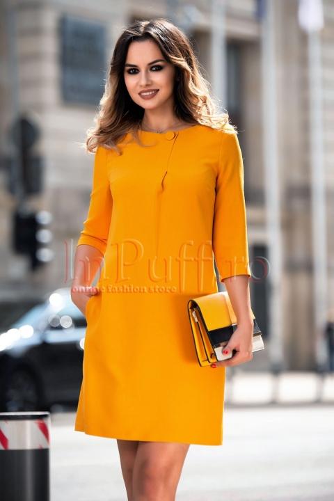 Rochie MBG de zi office galben-mustar