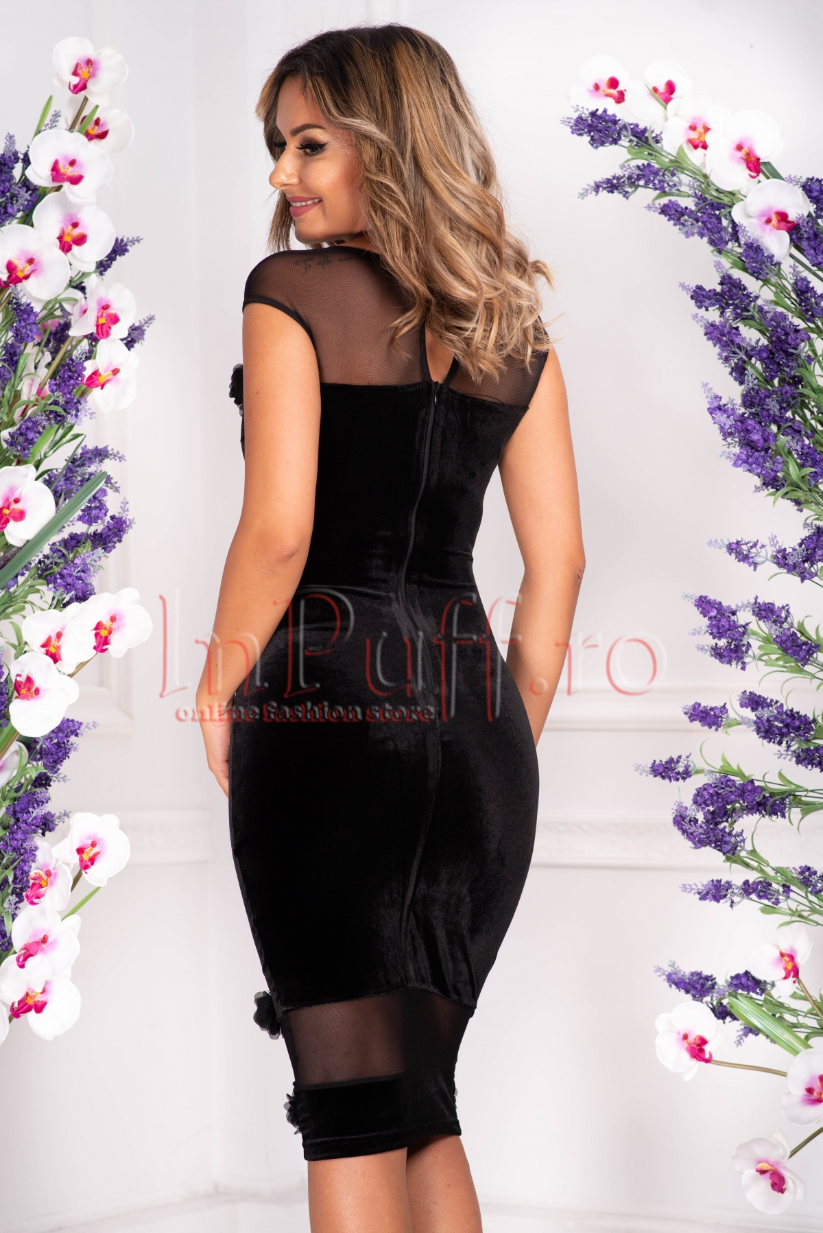 Rochie Fofy din catifea neagra cu flori 3D