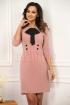 Rochie roz-pudra din stofa cu funda
