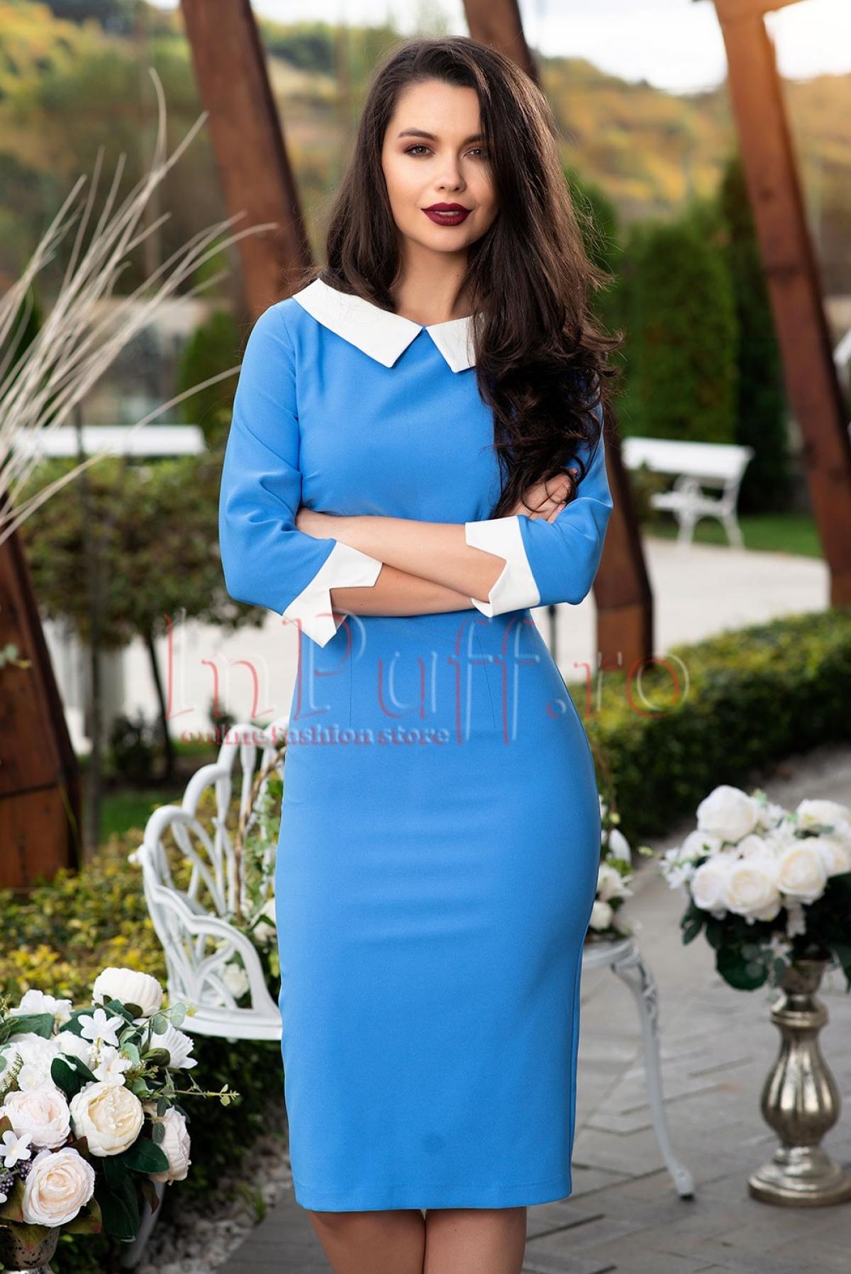 Rochie albastra Pretty Girl cu maneca trei sferturi