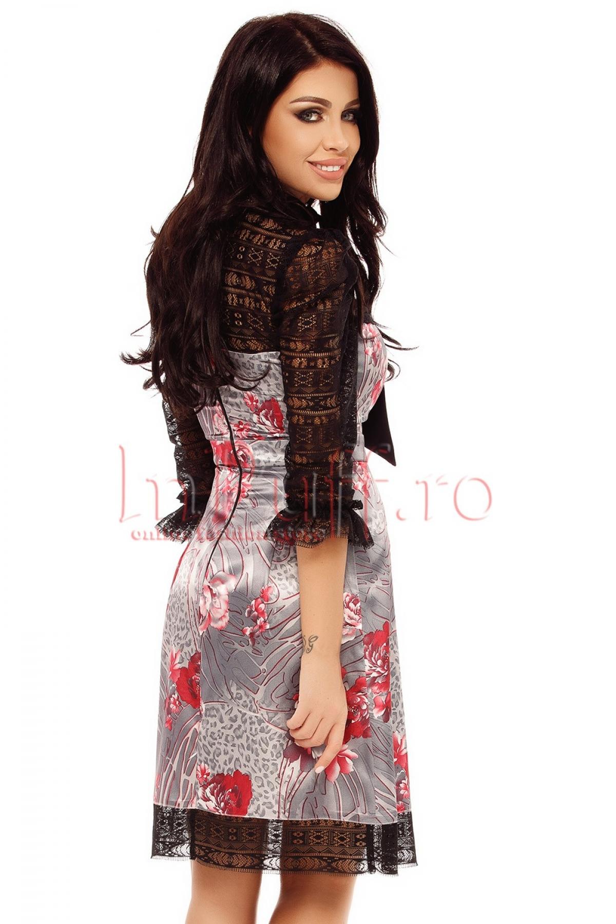 Rochie din dantela cu saten imprimat
