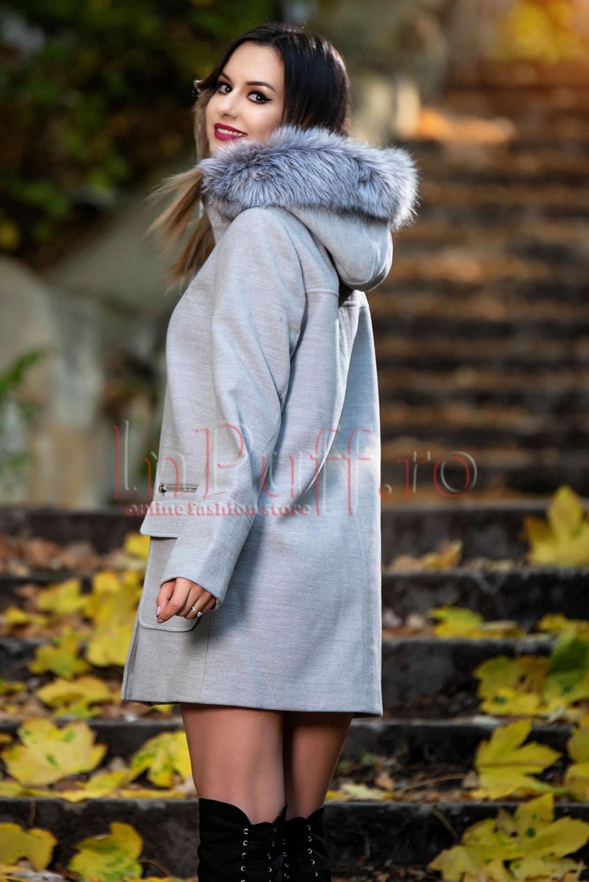 Palton subtire gri de dama din stofa