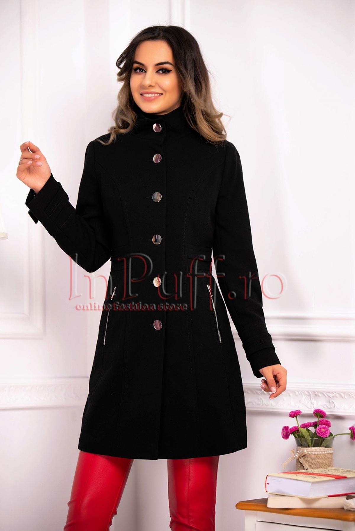 Palton elegant negru de dama thumbnail