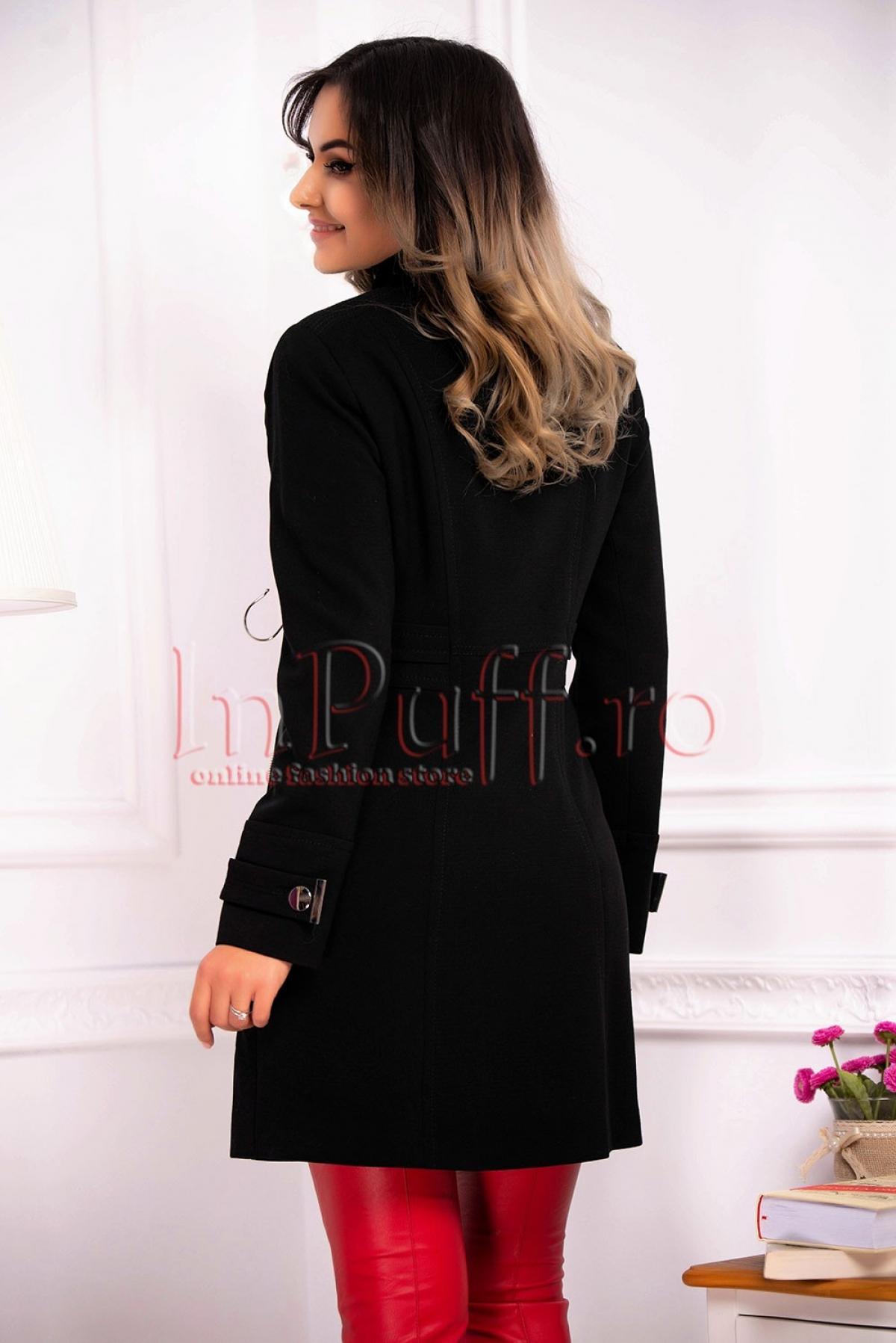 Palton elegant negru de dama