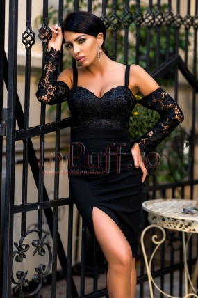 Rochie neagra cu bust din dantela eleganta