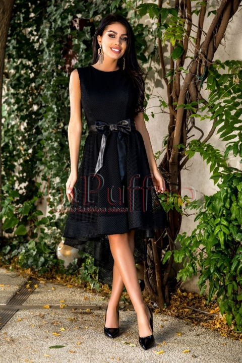 Rochie midi neagra eleganta Atmosphere