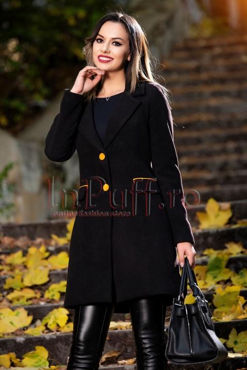 Palton negru din lana cu accente orange