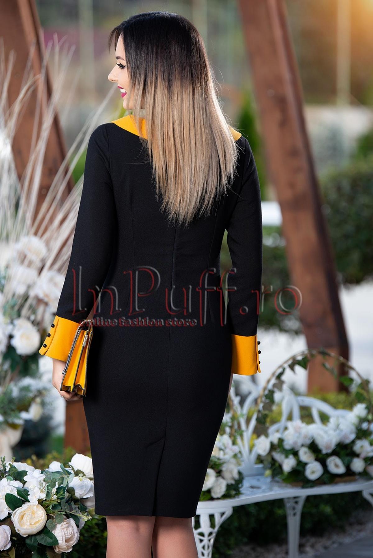 Rochie neagra cu mansete si guler mustar