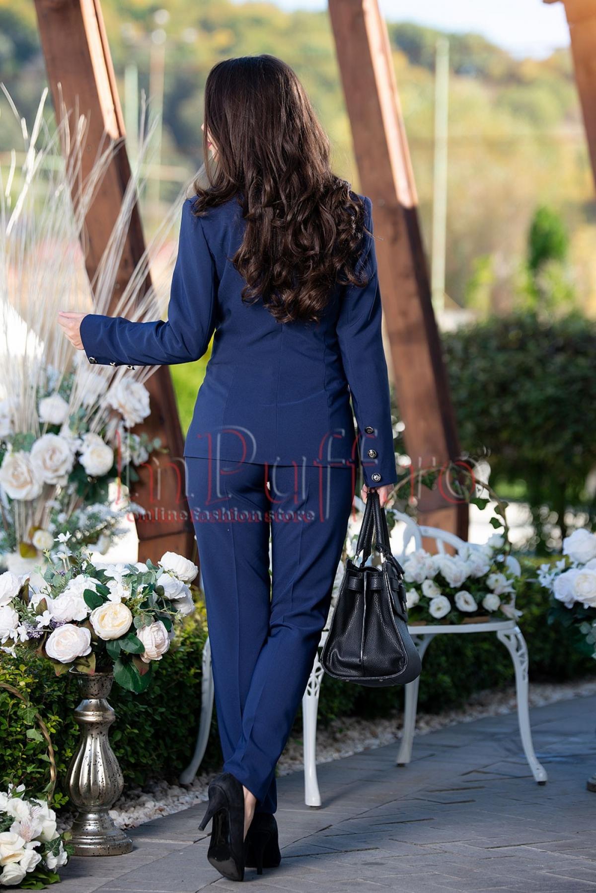 Sacou bleumarin cu nasturi decorativi