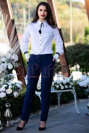 Pantaloni eleganti bleumarin conici