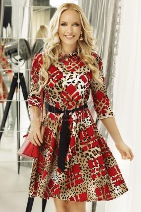 Rochie eleganta cu imprimeu rosu