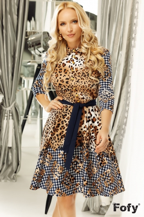 Rochie eleganta cu imprimeu animal print