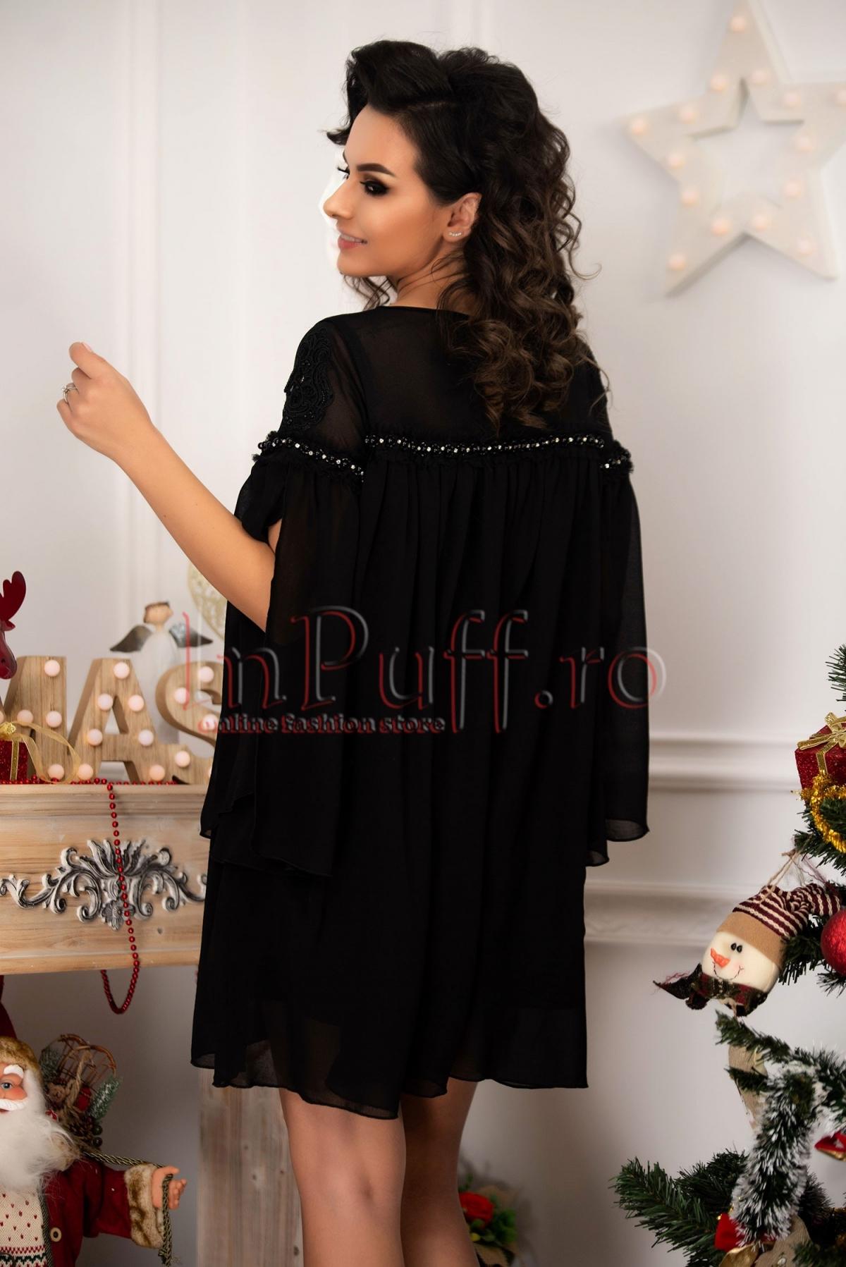 Rochie neagra din voal