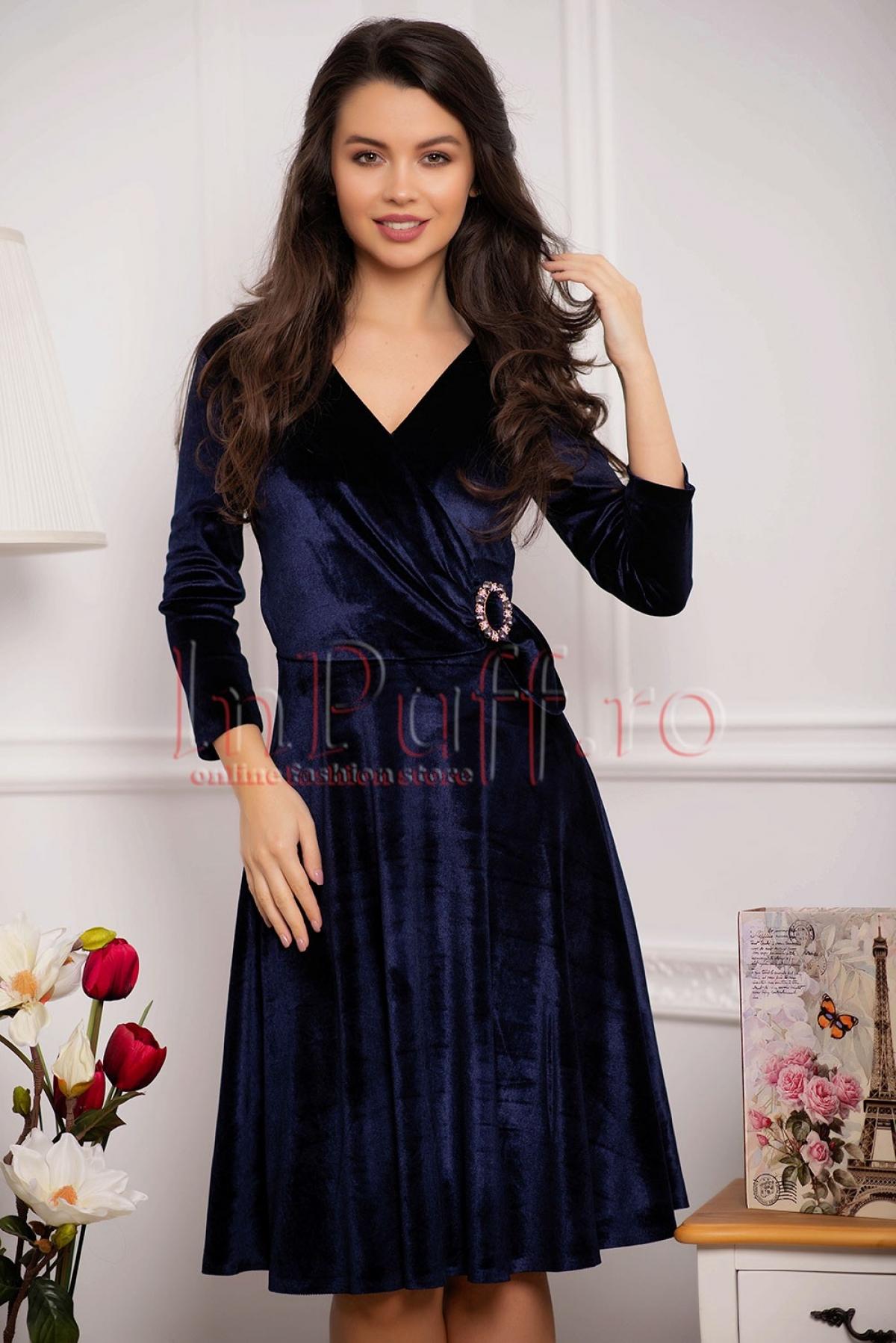 Rochie eleganta bleumarin din catifea