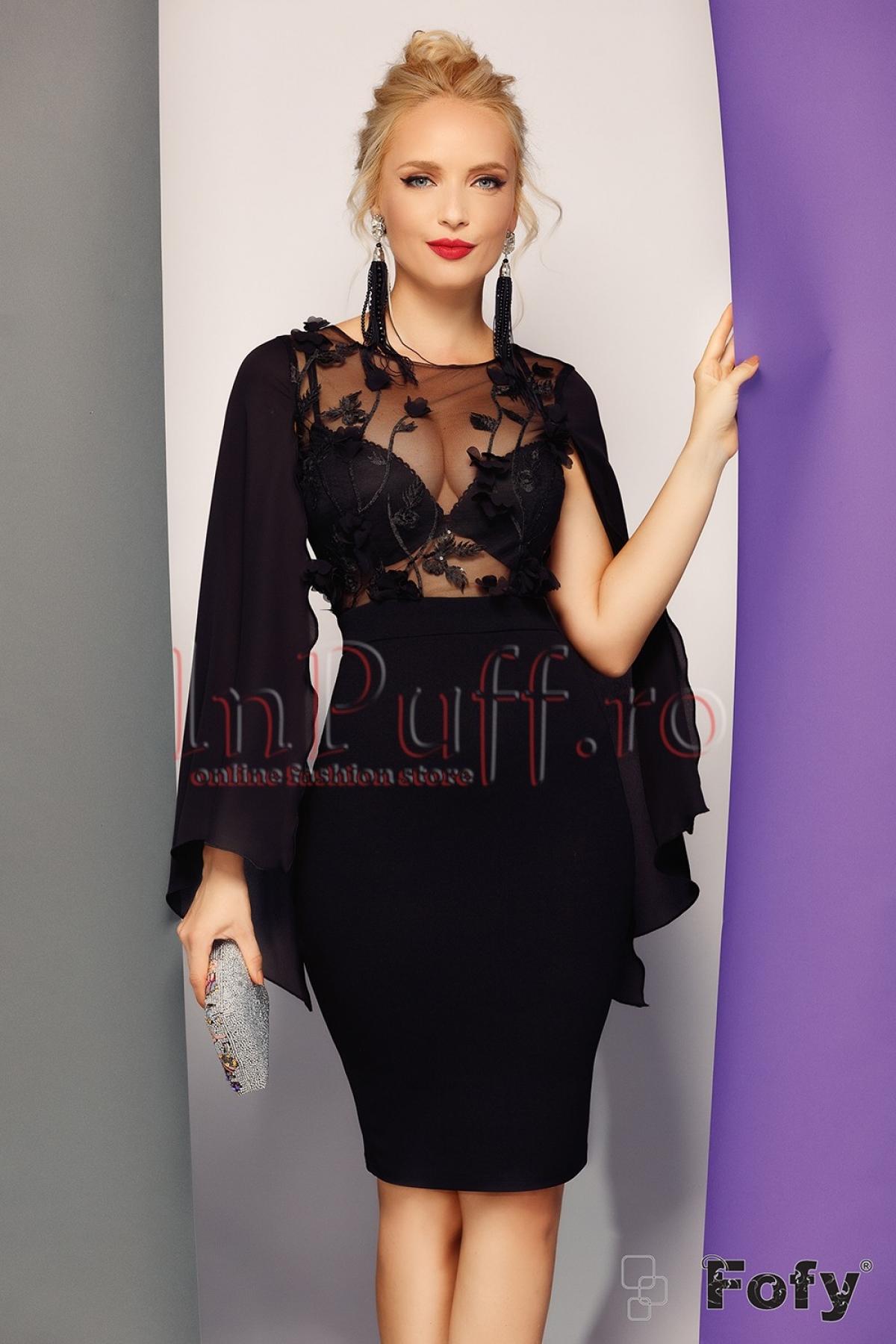 Rochie eleganta de seara cu maneca din voal