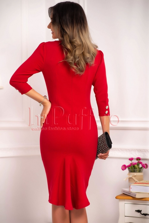 Rochie MBG din stofa groasa rosie cu croi drept