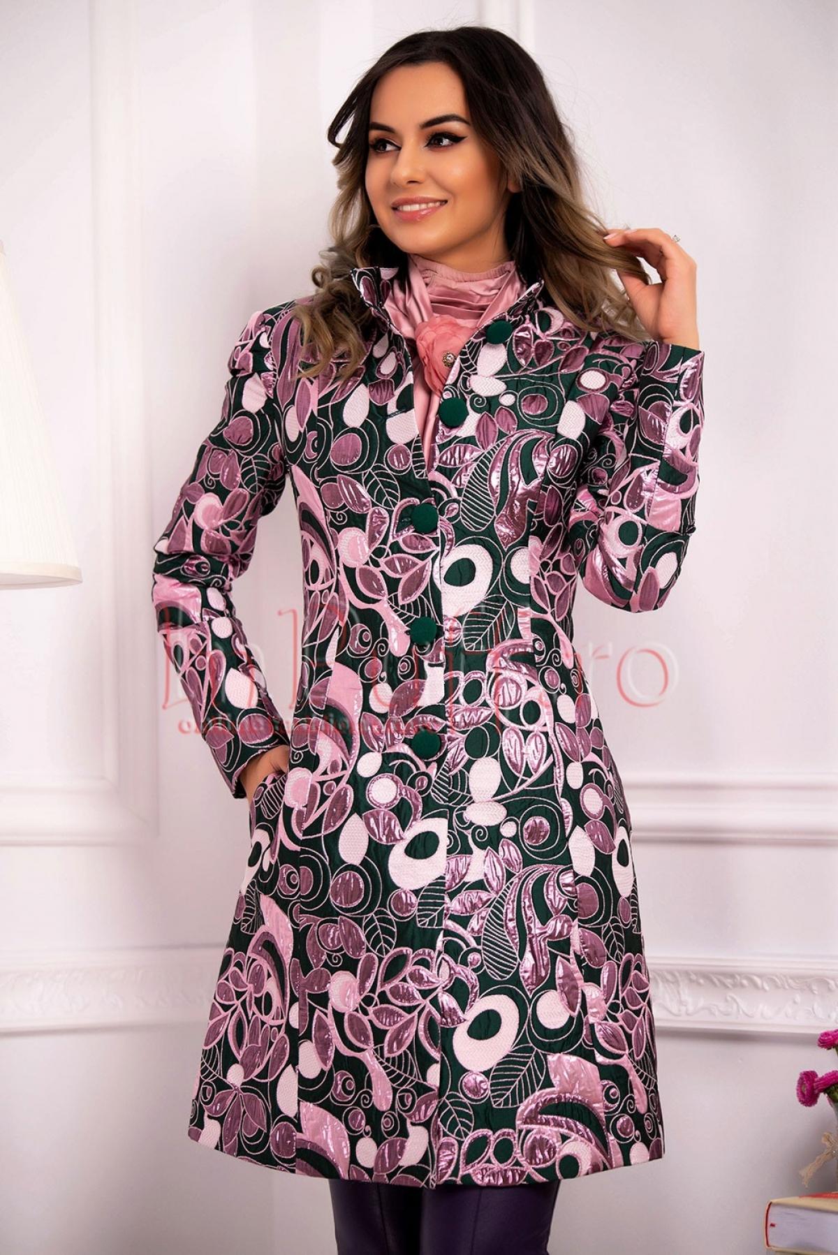 Palton MBG verde cu imprimeu roz lucios din brocard thumbnail
